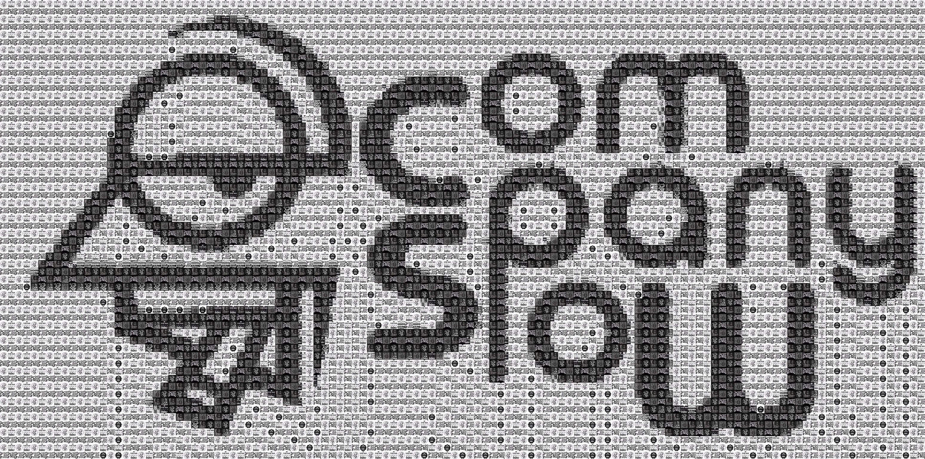 "Pixel Art, Mosaik, Sticker, ""Company Slow"" Schrift + Logo weiß"