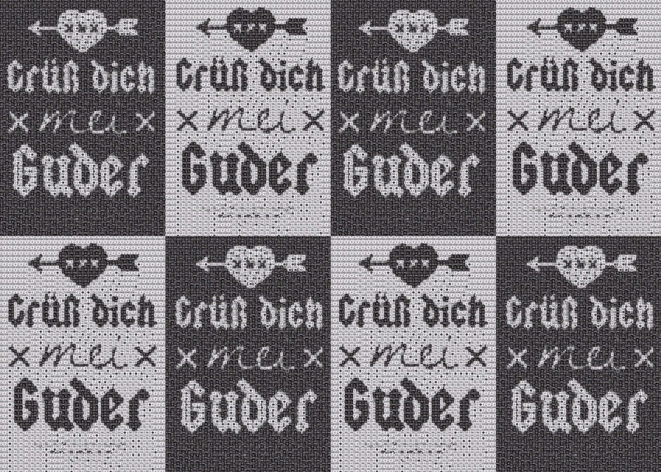 """Pixel Art, Mosaik, Sticker, """"Grüß dich mei Guder' Kachel Sticker"""