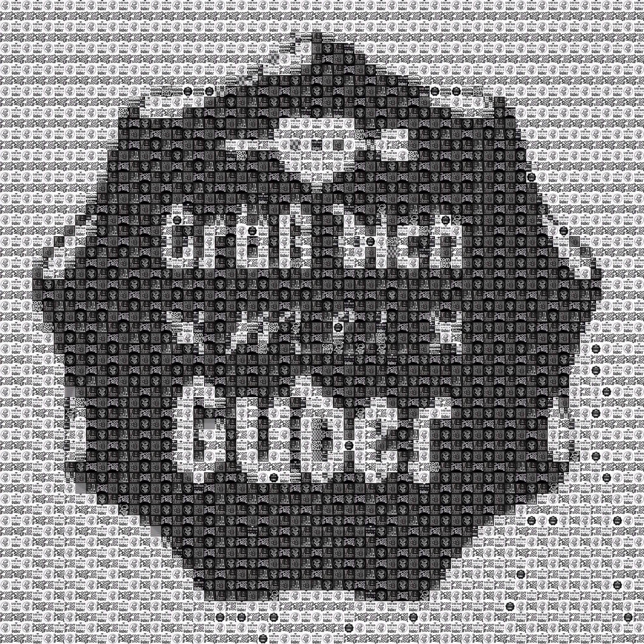 """Pixel Art, Mosaik, Sticker, """"Grüß dich mei Guder' Logo 2015"""