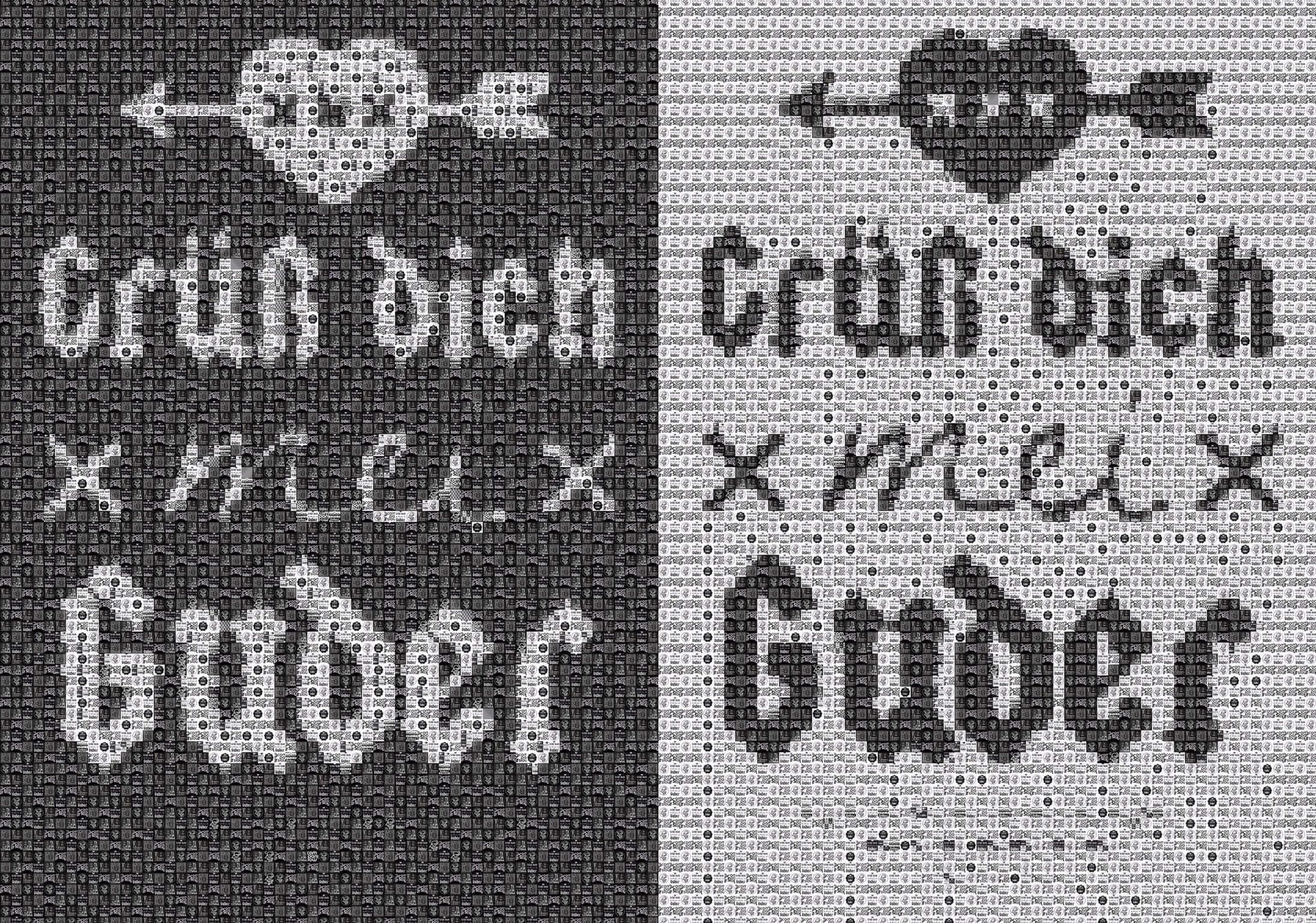 "Pixel Art, Mosaik, Sticker, ""Grüß dich mei Guder' Logo schwarz / weiß"